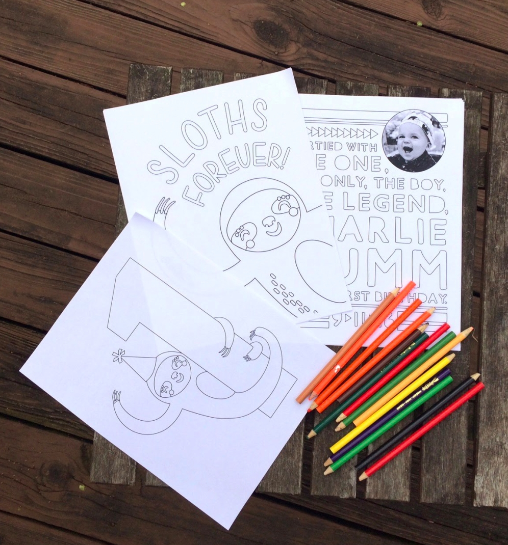 Custom sloth coloring pages