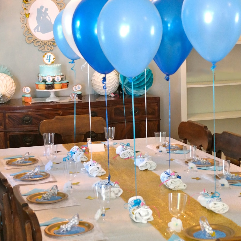 Dining table decorated for Cinderella party