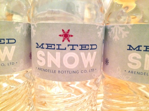 Melted snow water bottle labels