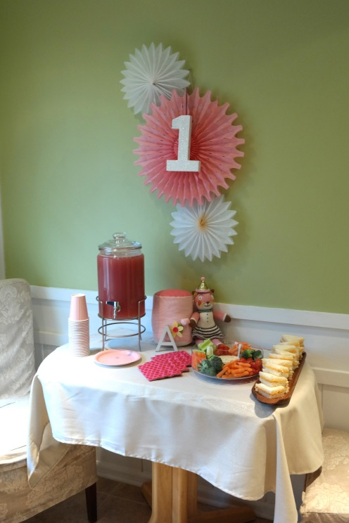 Birthday party table with snacks and drinks