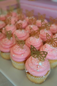 Butterfly birthday cupcakes and toppers