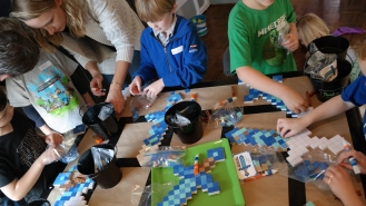 Boys crafting at Minecraft party