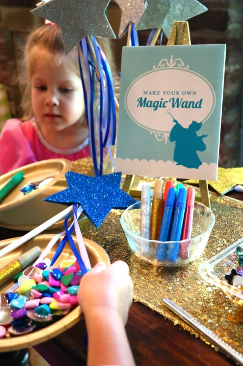 Cinderella birthday party wand making station