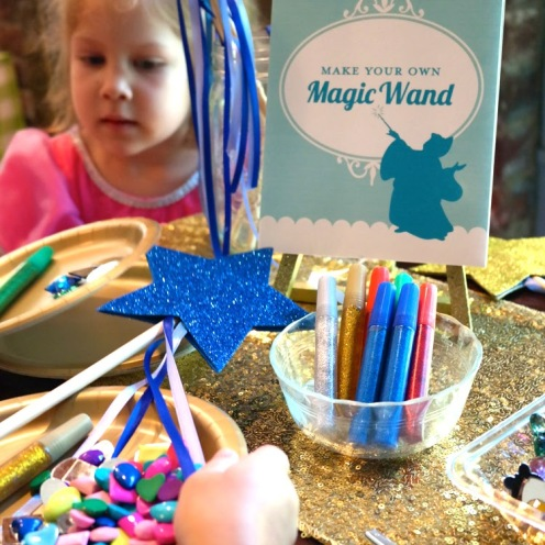 Cinderella birthday party wand making station